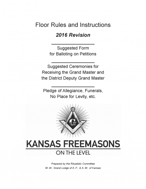 Floor Rules and Instructions 2016 a Cover